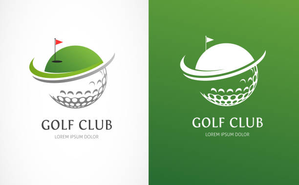Golf club icons, symbols, elements and logo collection Golf club icons, symbols, elements and logo vector collection golf ball stock illustrations