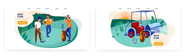 Golf club landing page design, website banner vector template set. Golfing school, outdoor sport, hobby.
