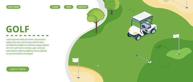 Golf club landing page or banner vector template