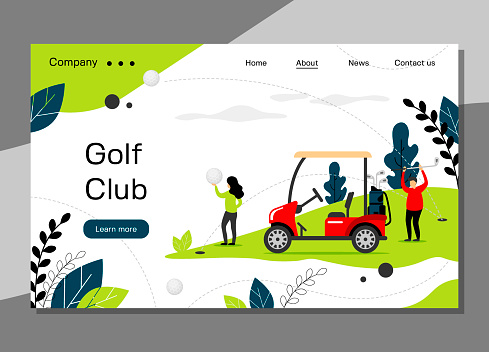 Golf club landing page template, golfing school concept with golf car, banner website - vector illustration