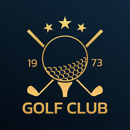 Golf club logo, badge or icon with crossed golf clubs and ball on tee. Vector illustration.