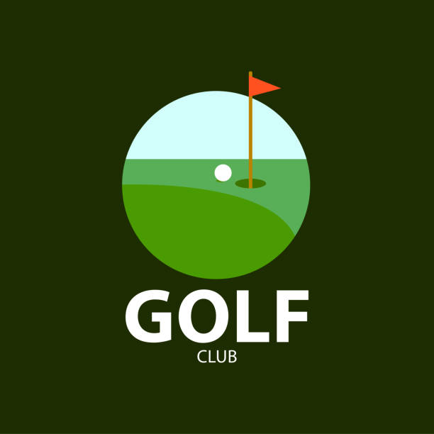 Golf club logo on green background . Vector illustration Golf club logo on green background . Vector illustration golf logo stock illustrations