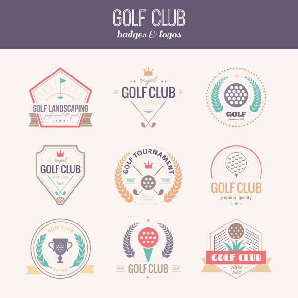 Golf Club Logo Set of golf club logo templates. Hipster sport labels with sample text. Elegant vintage icons for golf tournaments, organizations and golf clubs. Vector logotype design. golf logo stock illustrations