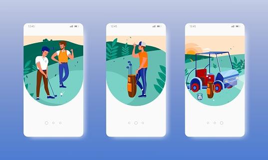 Golf club players, helper, car, sport equipment. Mobile app screens, vector website banner template. UI, web site design