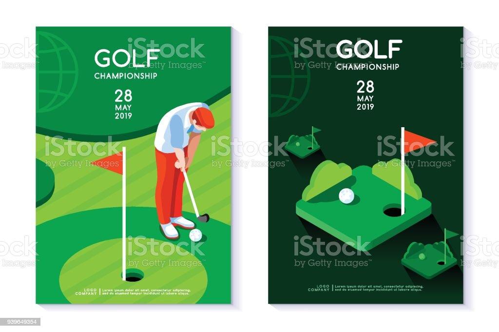 Plantilla cartel de club de golf - ilustración de arte vectorial