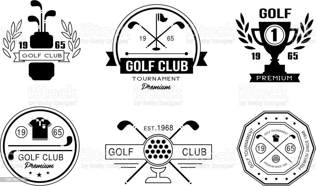 Golf Club Premium-Logo Designset, Golf Club Retro-Abzeichen, sport Turnier oder Wettbewerb Vintage Etiketten Vektor Illustration auf weißem Hintergrund – Vektorgrafik