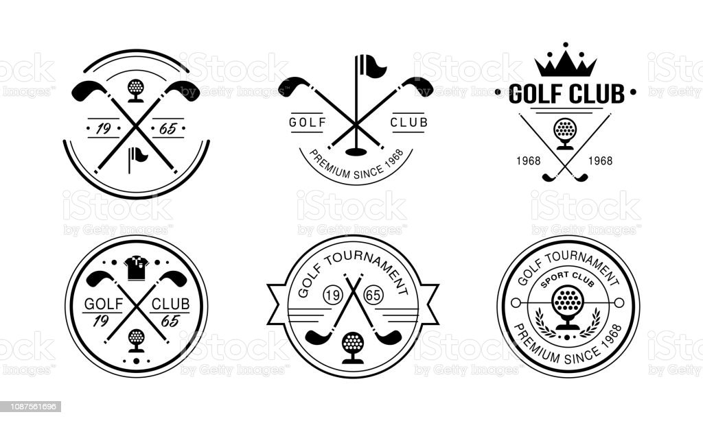 Golf club premium since 1968 logo, golfing club retro badges, sport tournament or competition vintage labels vector Illustration on a white background Golf club premium since 1968 logo, golfing club retro badges, sport tournament or competition vintage labels vector Illustration isolated on a white background. 1968 stock vector