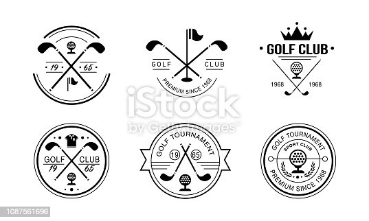 Golf club premium since 1968 logo, golfing club retro badges, sport tournament or competition vintage labels vector Illustration isolated on a white background.