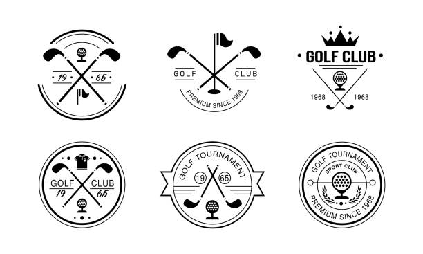 Golf club premium since 1968 logo, golfing club retro badges, sport tournament or competition vintage labels vector Illustration on a white background Golf club premium since 1968 logo, golfing club retro badges, sport tournament or competition vintage labels vector Illustration isolated on a white background. golf logo stock illustrations