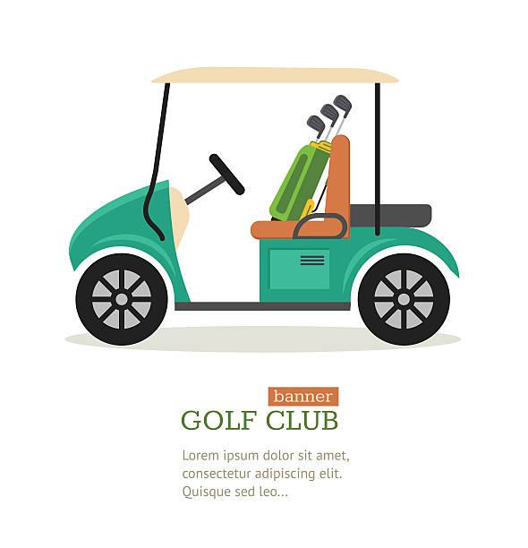 Golf Club Symbol Banner. Vector Golf Club Symbol Banner Flat Design Style. Vector illustration golf cart stock illustrations