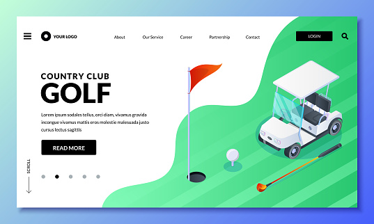 Golf club vector isometric illustration. Landing page or banner layout. Golf cart, ball, club on green field.