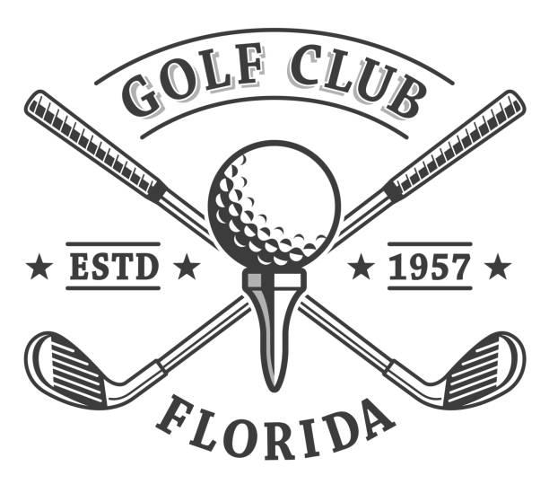 ilustrações de stock, clip art, desenhos animados e ícones de golf clubs emblem - golf