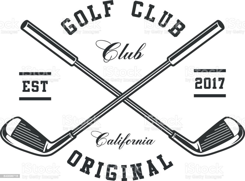 Golf clubs emblem Monochrome Golf clubs on white background. Text is on the separate layer. Art stock vector