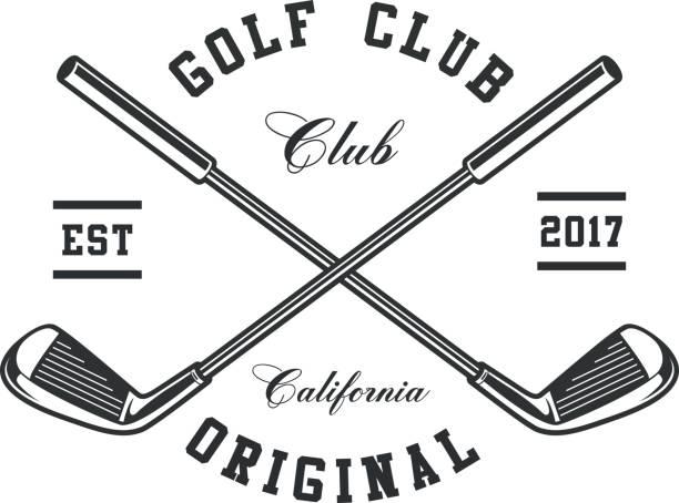 ilustrações, clipart, desenhos animados e ícones de emblema de tacos de golfe - golfe