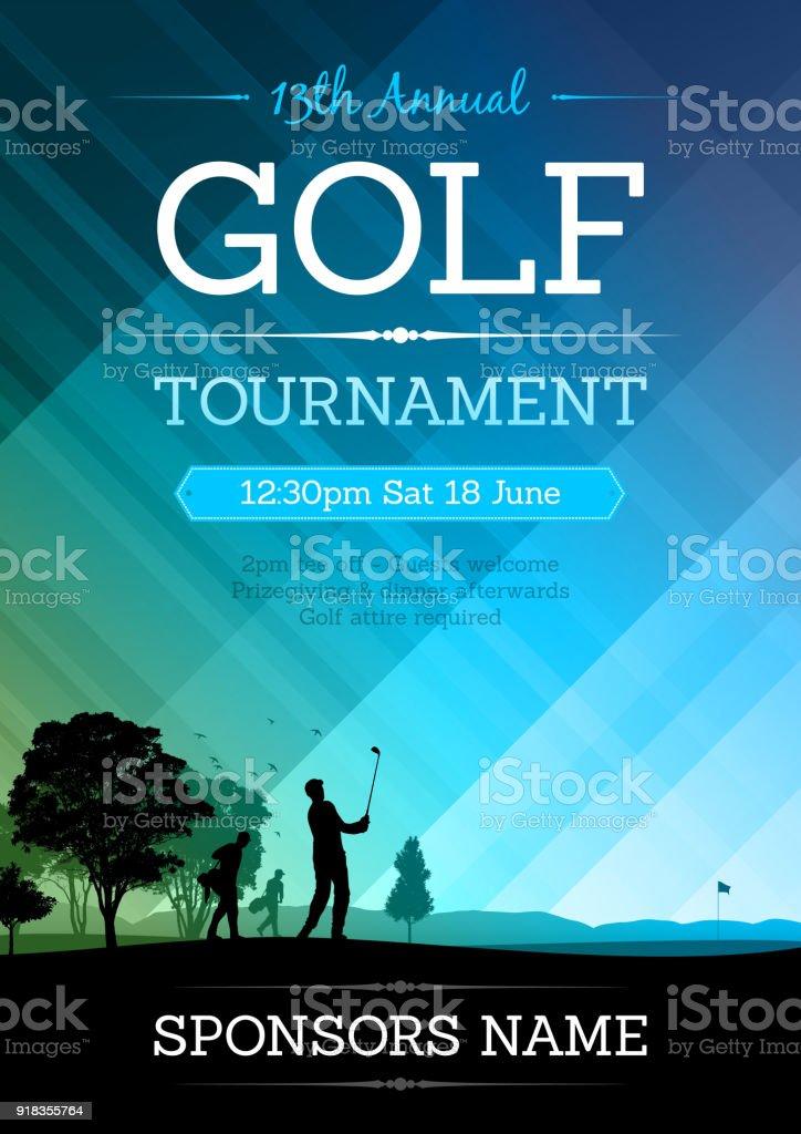 Cartel de la competición de golf - ilustración de arte vectorial