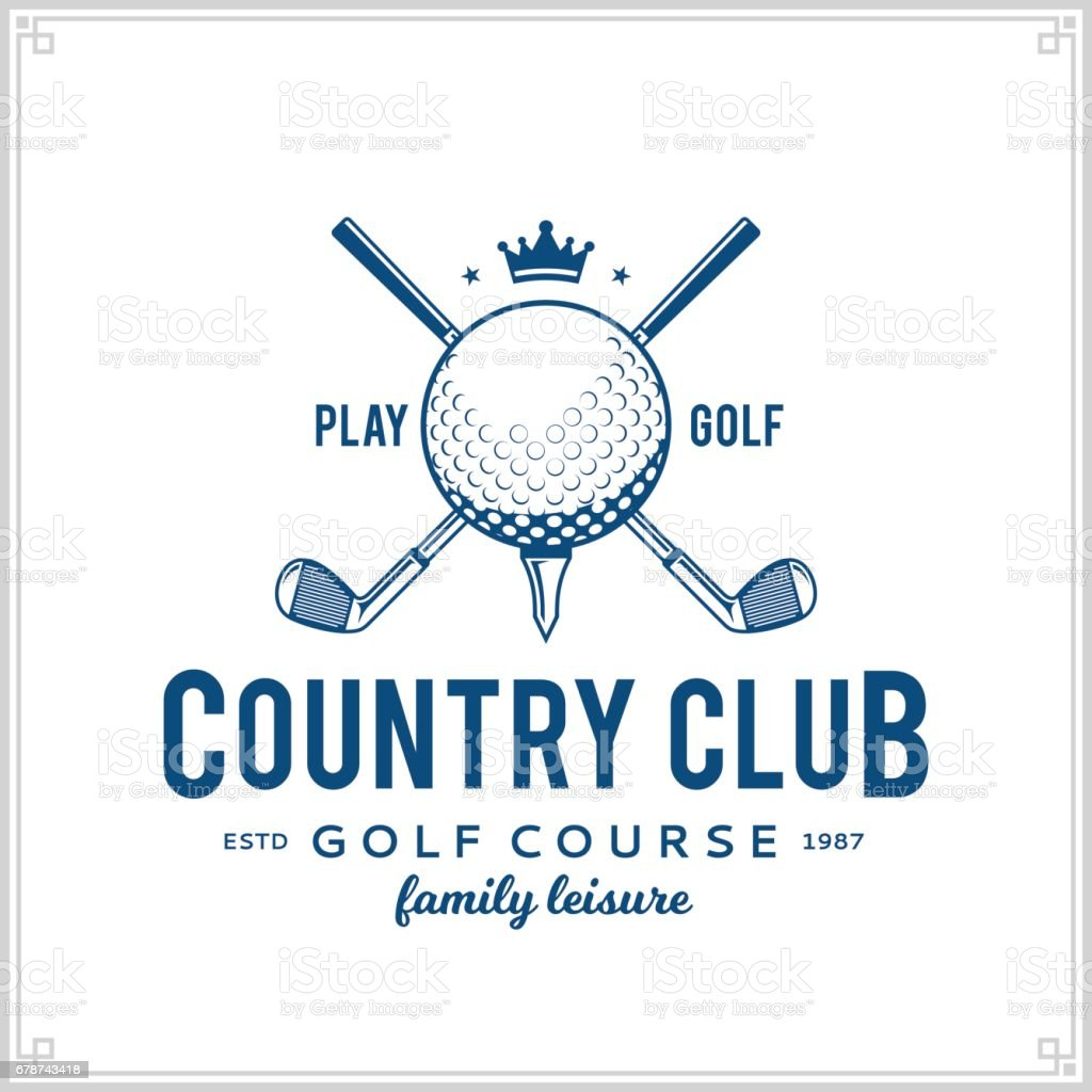 Golf country club icon vector art illustration