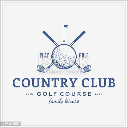 Golf country club label template. Golf label with sample text. Golf icon for golf tournaments, organizations and golf country clubs. Vector logotype design.