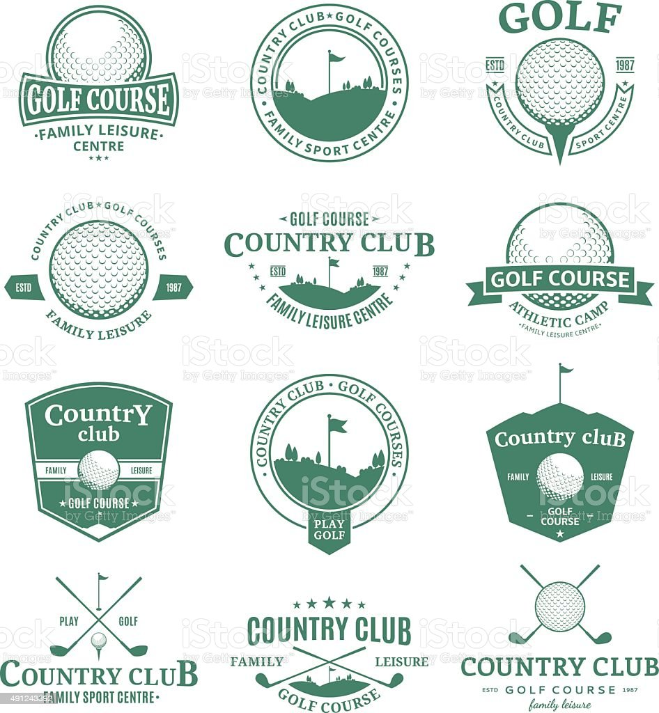 Golf country club labels and design elements vector art illustration
