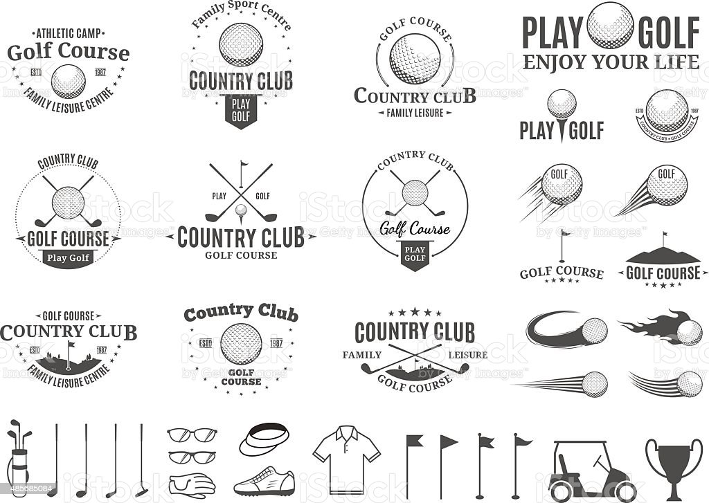 Golf country club labels, icons and design elements vector art illustration