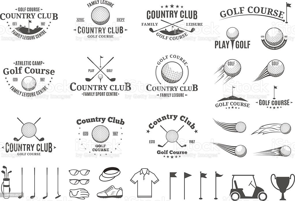 Golf country club Etiketten, icons und design-Elemente – Vektorgrafik