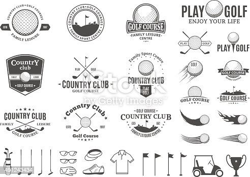 Set of golf country club labels templates. Golf labels with sample text. Golf icons for golf tournaments, organizations and golf country clubs. Vector labels design.