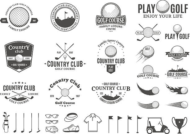 Golf country club labels, icons and design elements Set of golf country club labels templates. Golf labels with sample text. Golf icons for golf tournaments, organizations and golf country clubs. Vector labels design. golf ball stock illustrations
