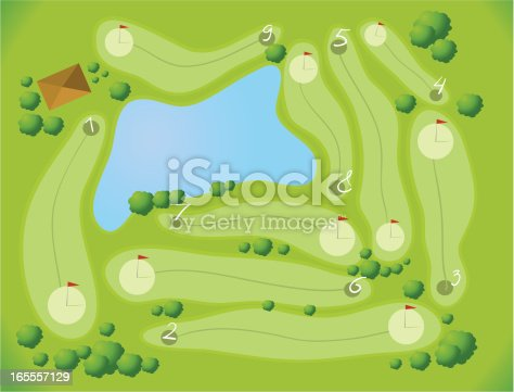 Vector Illustration of Golf Course Aerial View