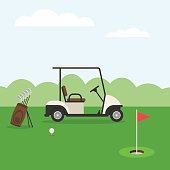 Golf course and car