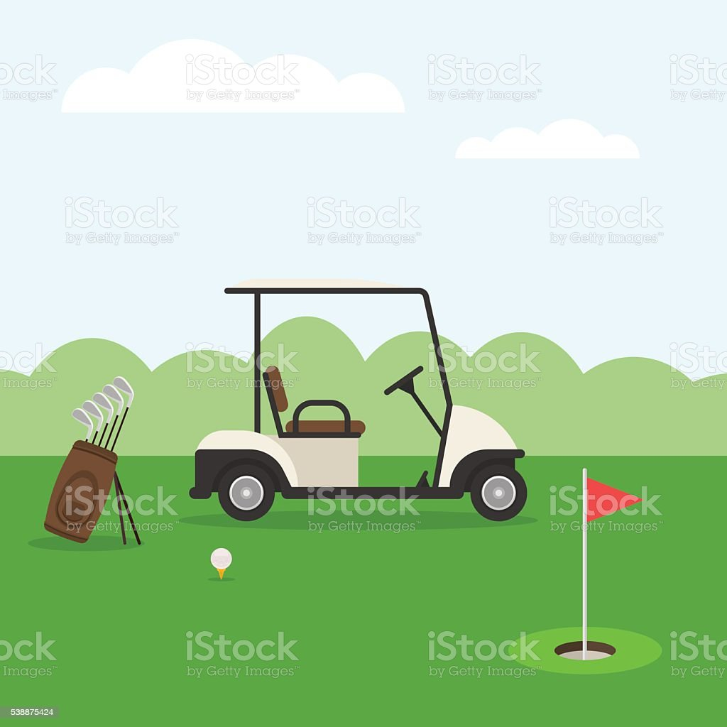 Golf course and car vector art illustration