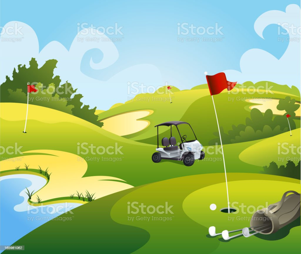 Golf course beautiful landscape vector art illustration