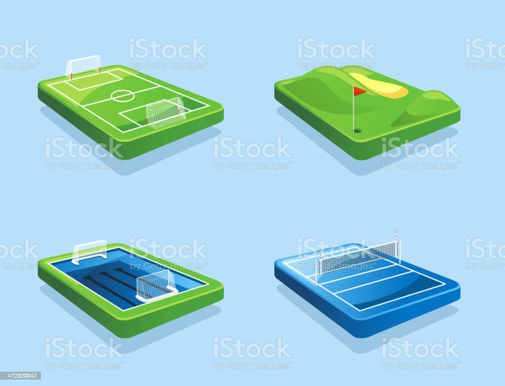 Golf course Football field Water polo Volleyball royalty-free stock vector art
