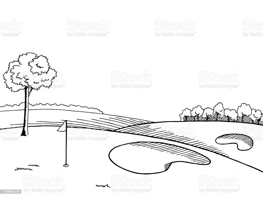 Golf Course Graphic Art Black White Landscape Sketch ...