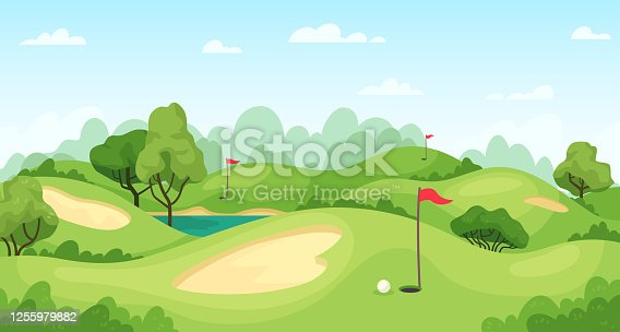 istock Golf course. Green landscape with flags and sand ground, golf cart on lawn, course for tournament game golf vector background 1255979882