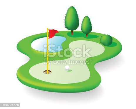 Vector illustration of golf course icon isolated on white background.