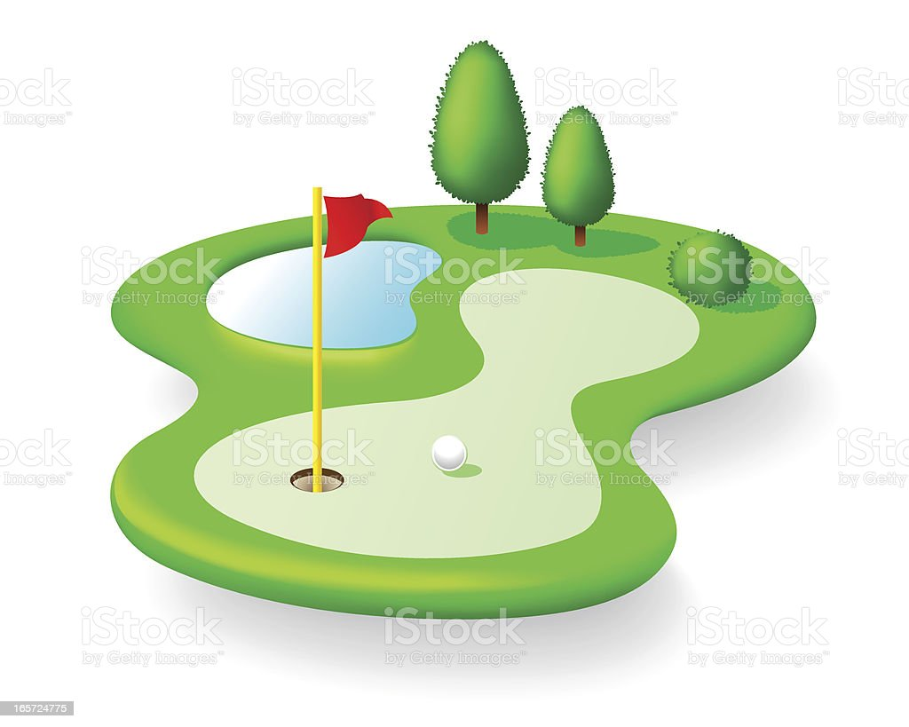 Golf Course Icon Isolated on White Background vector art illustration