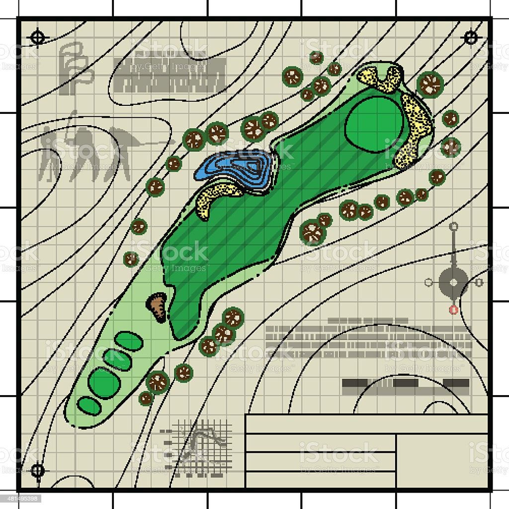 Golf course layout blueprint drawing stock vector art more images golf course layout blueprint drawing royalty free golf course layout blueprint drawing stock vector art malvernweather
