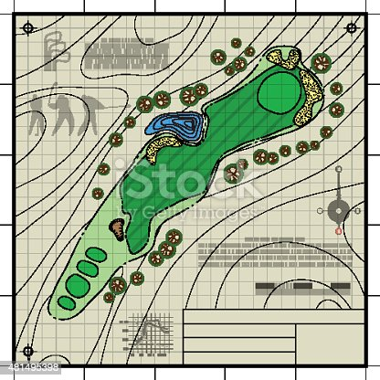 Golf course layout blueprint drawing stock vector art more images golf course layout blueprint drawing stock vector art more images of 2015 481495398 istock malvernweather Image collections
