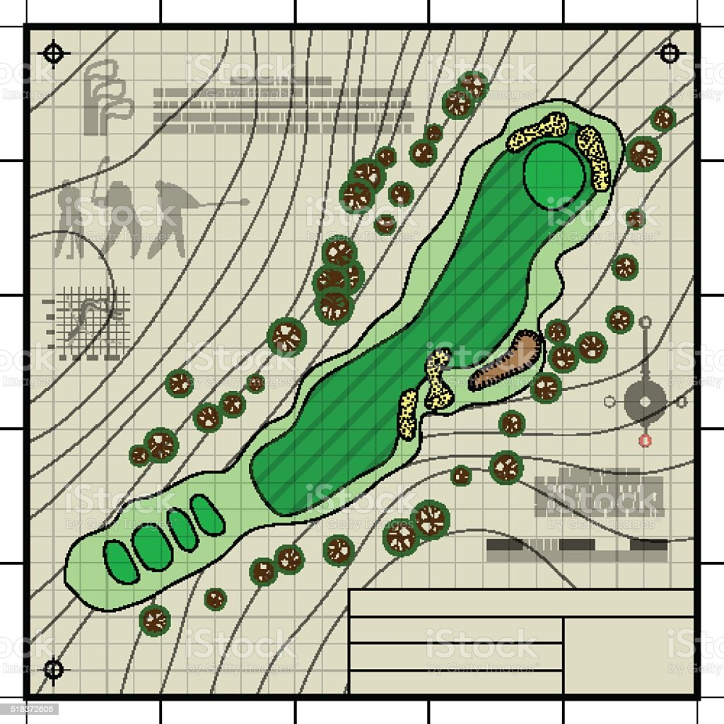 Golf course layout blueprint drawing stock vector art more images golf course layout blueprint drawing royalty free golf course layout blueprint drawing stock vector art malvernweather Image collections