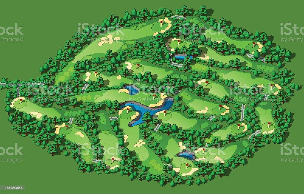 Golf course layout vector art illustration