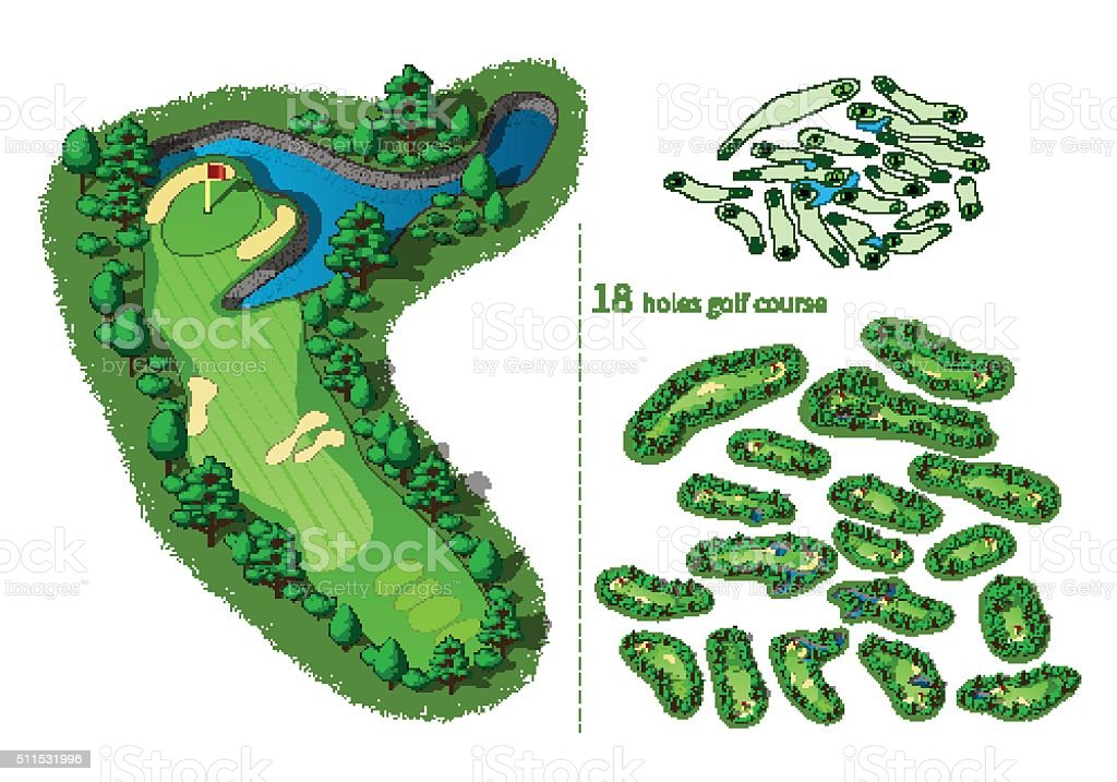Golf course map 18 holes vector art illustration