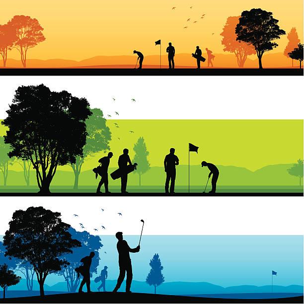 ゴルフコースのシルエット - ゴルフ点のイラスト素材/クリップアート素材/マンガ素材/アイコン素材