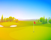 Golf course vector illustration with the sun shining