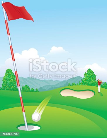 Golfer hitting a hole in one on the golf course.