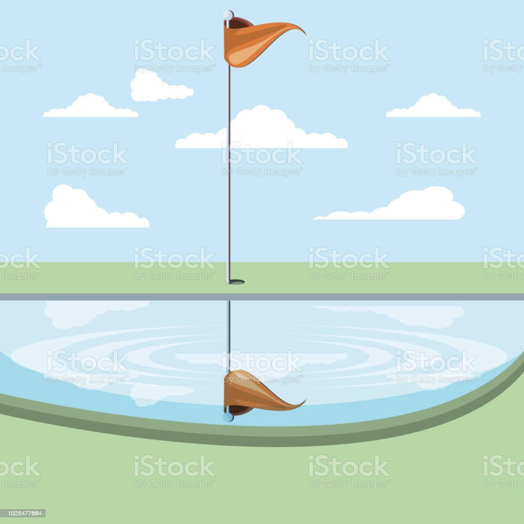 Golf Curse With Lake Scene Stock Illustration - Download Image Now