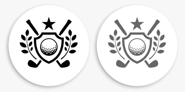 Golf Emblem Black and White Round Icon vector art illustration