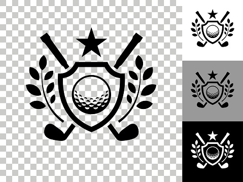 Golf Emblem Icon on Checkerboard Transparent Background