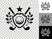 Golf Emblem Icon on Checkerboard Transparent Background. This 100% royalty free vector illustration is featuring the icon on a checkerboard pattern transparent background. There are 3 additional color variations on the right..