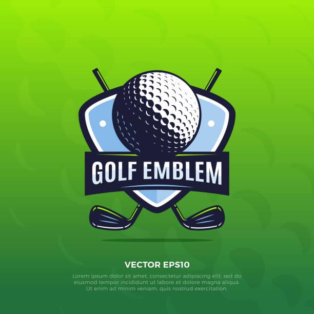 ilustrações, clipart, desenhos animados e ícones de emblema de golfe - golfe