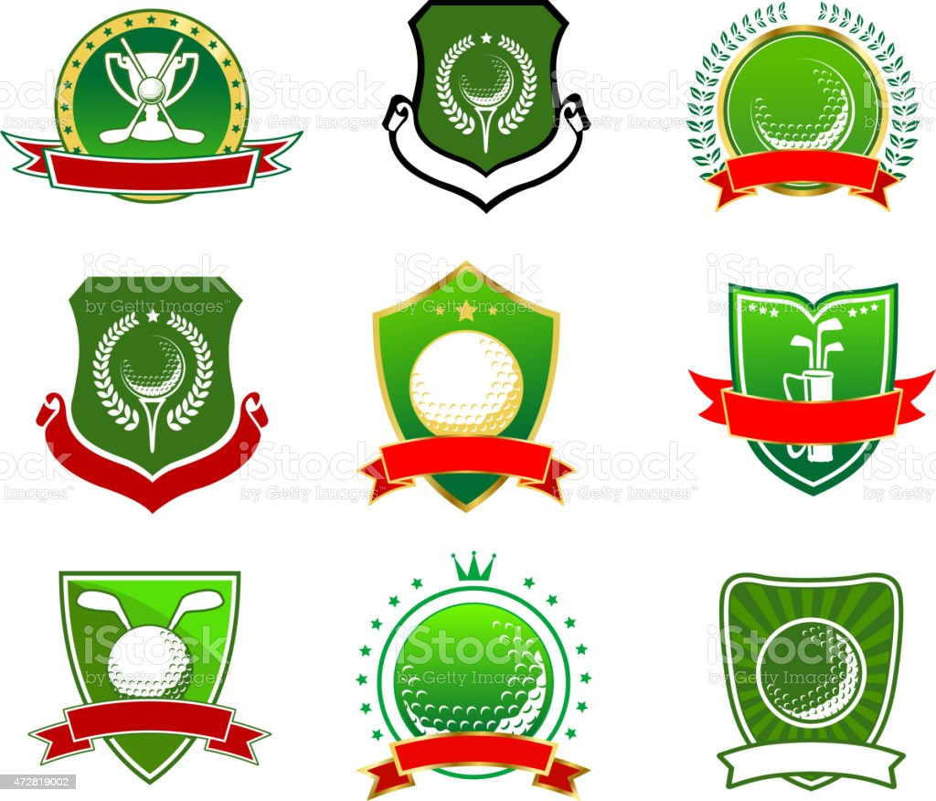 Golf emblems in heraldic style vector art illustration