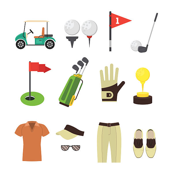 Golf Equipment Flat Set. Vector Golf Equipment Flat Design Style Set for Mobile and Web App. Vector illustration golf icon stock illustrations
